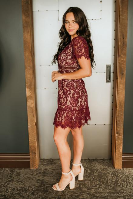 V-Neck Short Sleeve Lace Dress - Burgundy