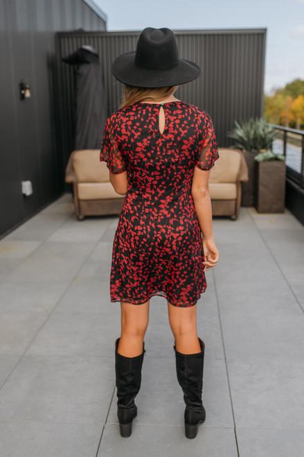 Short Sleeve Printed Shift Dress - Red/Black - FINAL SALE