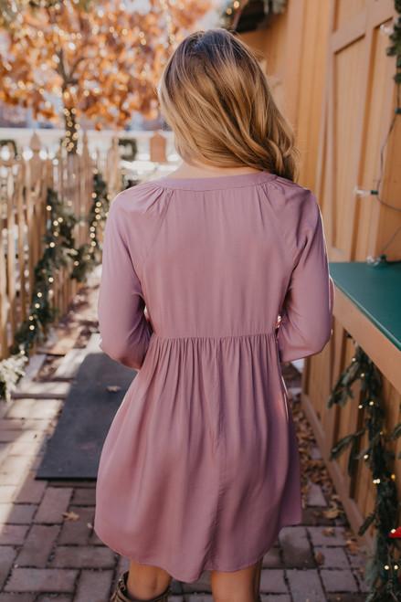 V-Neck Floral Embroidered Dress - Mauve