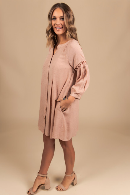 3/4 Sleeve Button Down Dotted Dress - Taupe