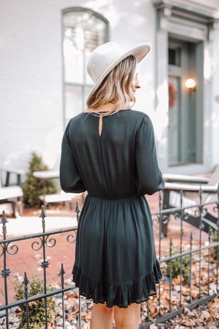 Crochet Detail Ruffle Hem Dress - Black Crochet Detail Ruffle Hem Dress - Black