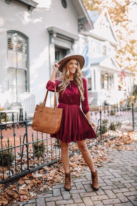 Crochet Detail Ruffle Hem Dress - Burgundy