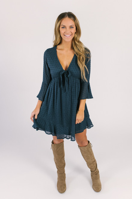 V-Neck Tie Front Dotted Dress - Navy
