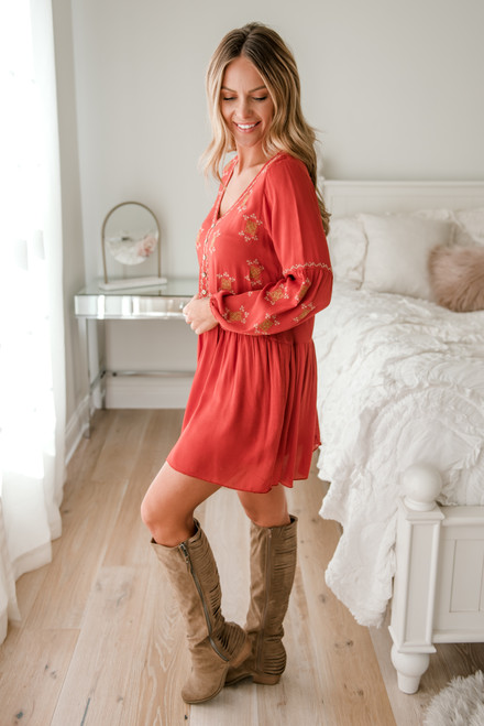 Embroidered Button Detail Babydoll Dress - Rust