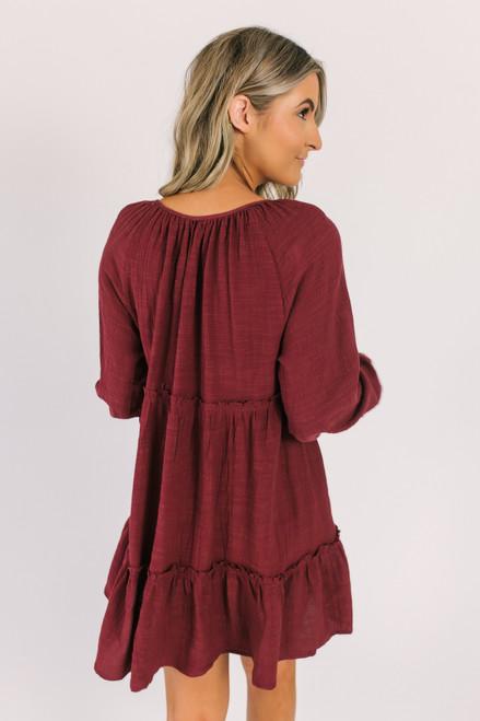 Tie Front Tiered Boho Dress - Burgundy