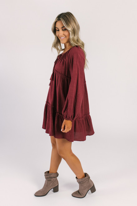 Tie Front Tiered Boho Dress - Burgundy - FINAL SALE