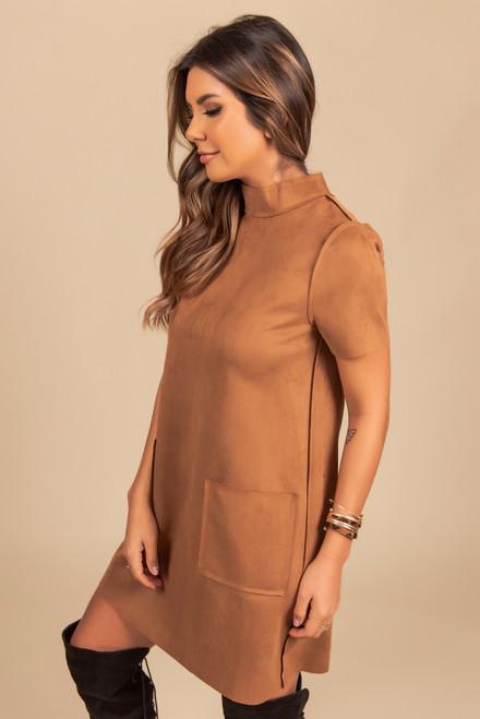 Mock Neck Faux Suede Pocket Dress - Camel