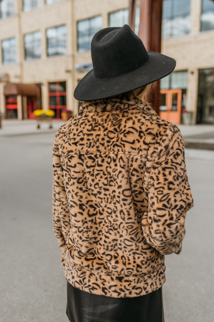 Faux Fur Leopard Jacket - Brown