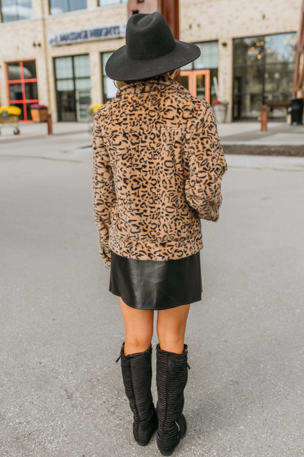 Faux Fur Leopard Jacket - Brown- FINAL SALE