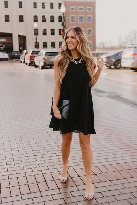 Open Back Crochet Halter Dress - Black