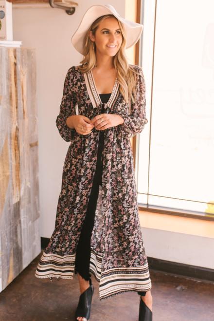 Mixed Floral Duster Kimono - Black - FINAL SALE
