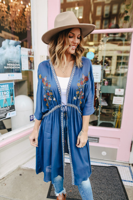 Floral Embroidered Faded Navy Kimono