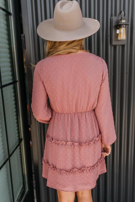 Surplice Dotted Ruffle Dress - Mauve - FINAL SALE