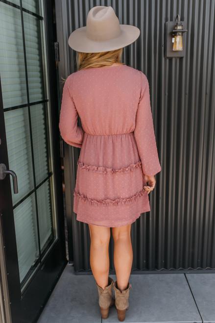 Surplice Dotted Ruffle Dress - Mauve