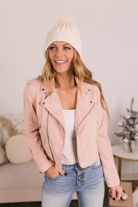 Heartbreaker Faux Suede Moto Jacket - Blush