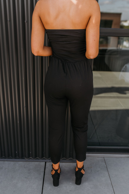 Strapless Ruched Detail Jumpsuit - Black