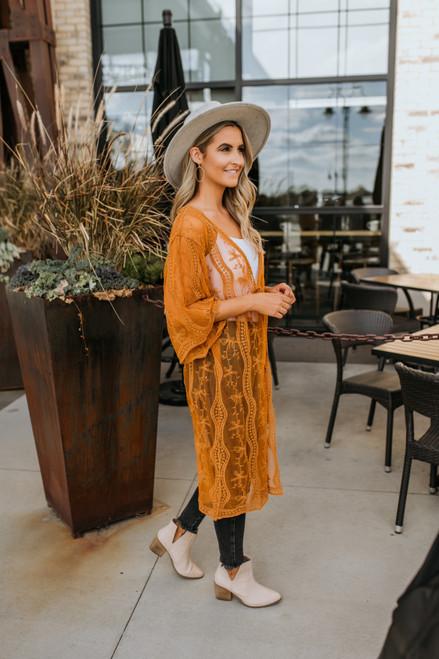 Scalloped Lace Kimono - Gold -  FINAL SALE