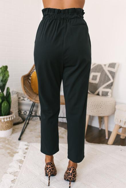 High Waist Drawstring Cropped Pants - Black