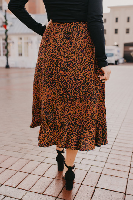 High Low Leopard Midi Skirt - Brown