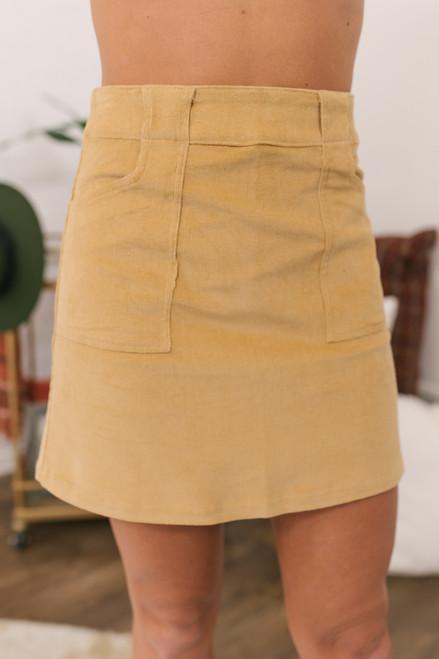 Corduroy Pocket Skirt - Light Camel
