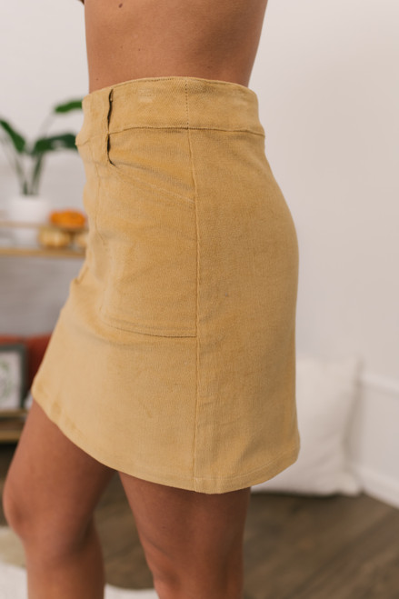 Corduroy Pocket Skirt - Light Camel - FINAL SALE