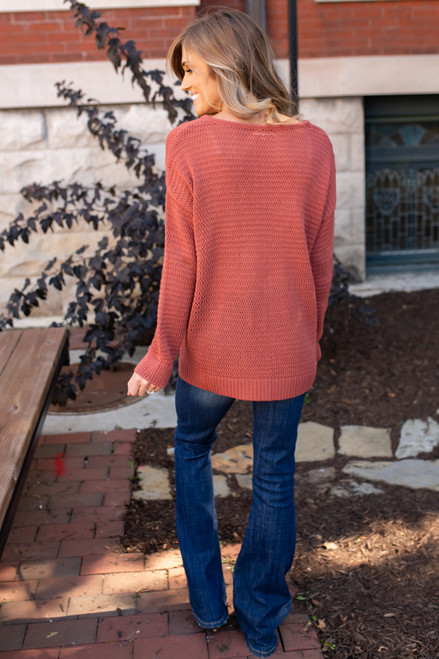 V-Neck High Low Sweater - Rust - FINAL SALE