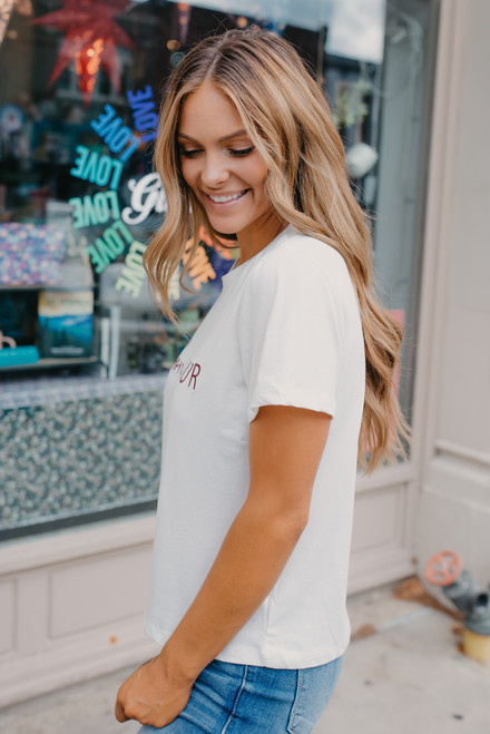 Bonjour Embroidered Tee - White - FINAL SALE