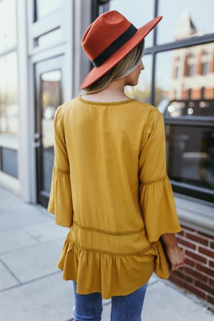 V-Neck Crochet Detail Peplum Top - Mustard