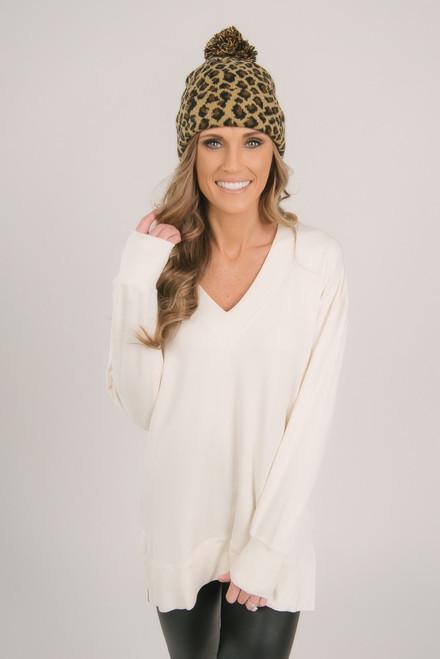 V-Neck Soft Knit Pullover - White