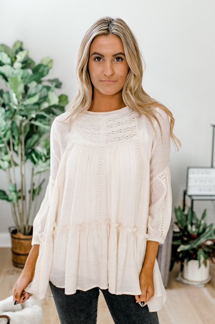 Crochet Detailed High Low Top - Ivory
