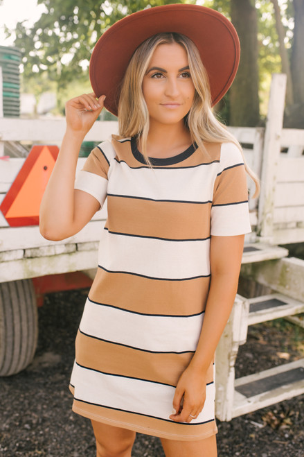 Salem Striped T-Shirt Dress - Taupe/Ivory/Black - FINAL SALE