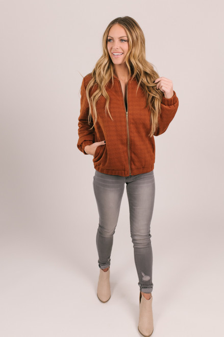 Textured Quilted Bomber Jacket - Rust