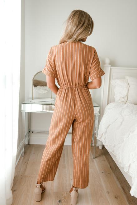 Tie Front Striped Jumpsuit - Camel/White -  FINAL SALE