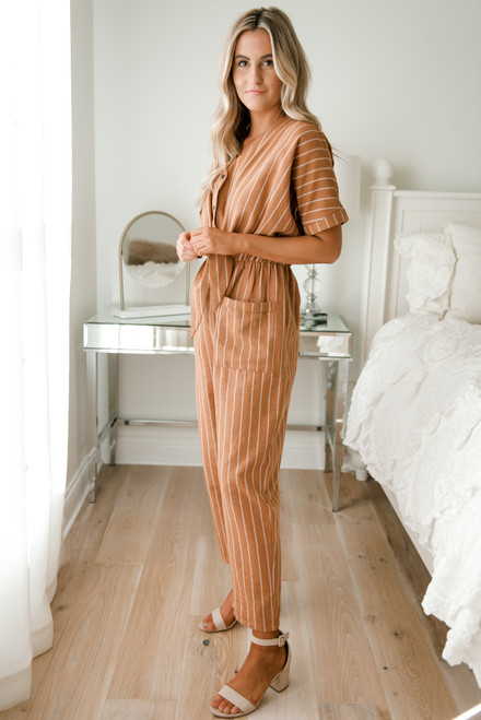 Tie Front Striped Jumpsuit - Camel/White