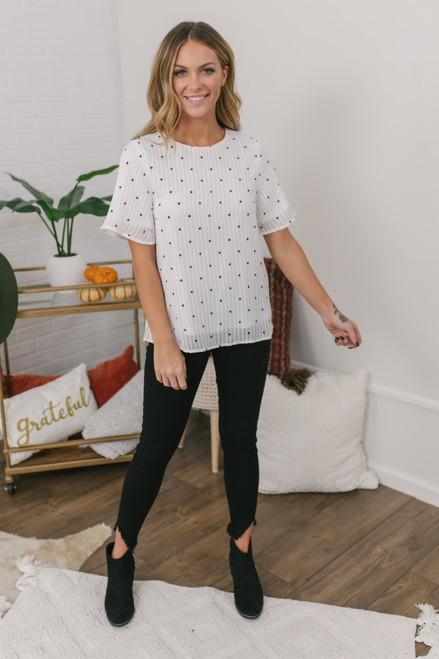 Short Sleeve Dotted Blouse - Ivory/Black - FINAL SALE