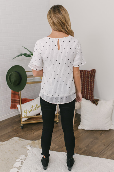 Short Sleeve Dotted Blouse - Ivory/Black
