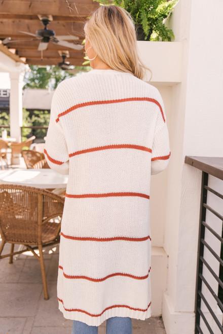 Striped Pocket Cardigan - Rust/Ivory