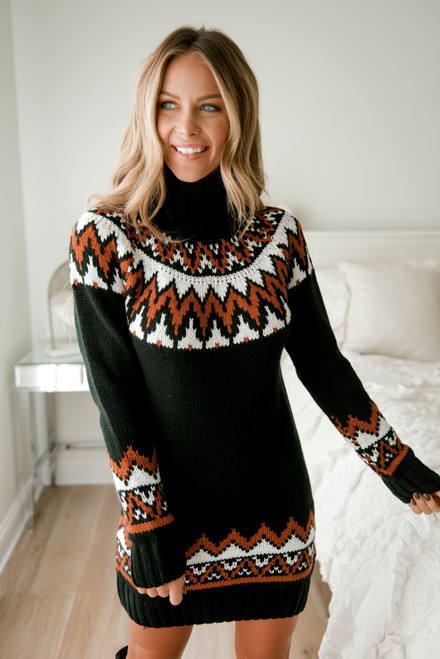 Turtleneck Printed Sweater Dress - Black