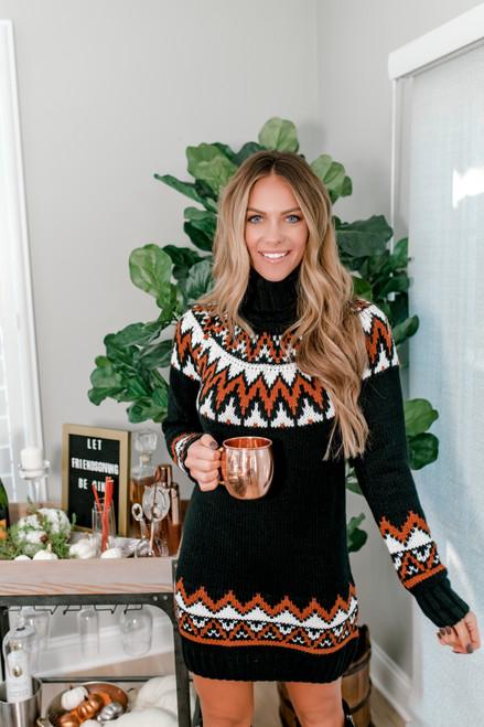 Turtleneck Printed Sweater Dress - Black - FINAL SALE