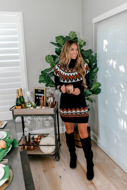 Turtleneck Printed Sweater Dress - Black