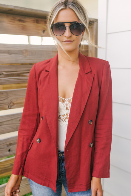 Everly Linen Blazer - Pumpkin Spice - FINAL SALE