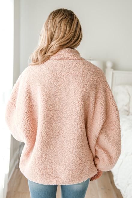 Zip Up Sherpa Jacket - Light Pink - FINAL SALE