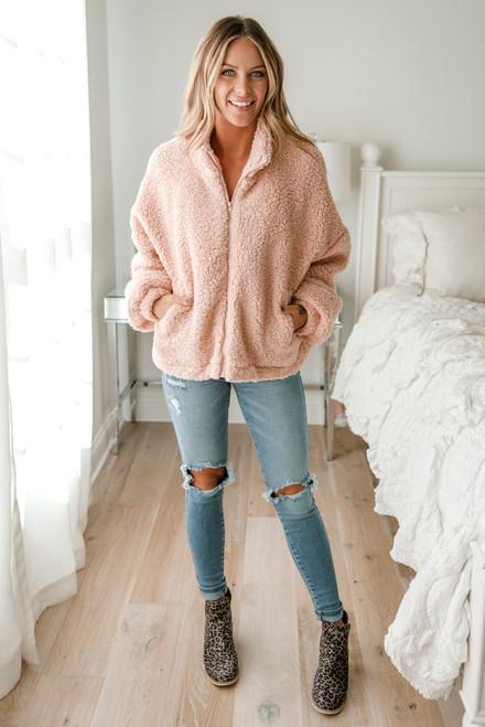 Zip Up Sherpa Jacket - Light Pink