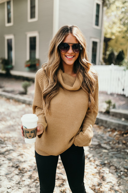 Mountain Lodge Cowl Neck Sweater - Camel