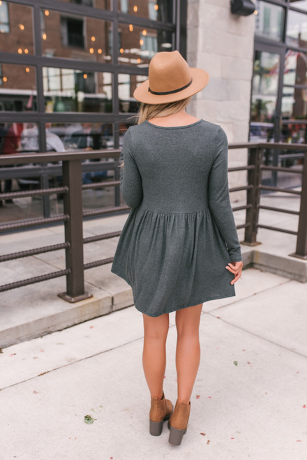 Simple As This Soft Brushed Dress - Olive