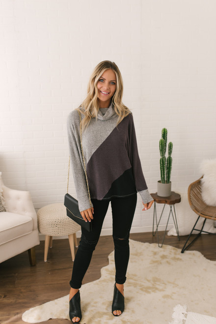 Cowl Neck Soft Brushed Colorblock Pullover - Purple/Grey/Black