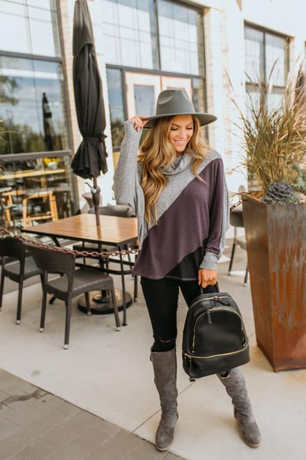 Cowl Neck Brushed Colorblock Pullover - Purple/Grey/Black- FINAL SALE