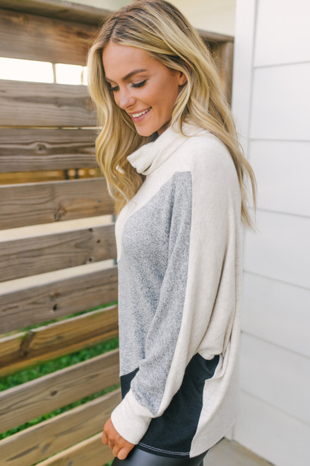 Cowl Neck Soft Brushed Colorblock Pullover - Oatmeal/Grey/Black