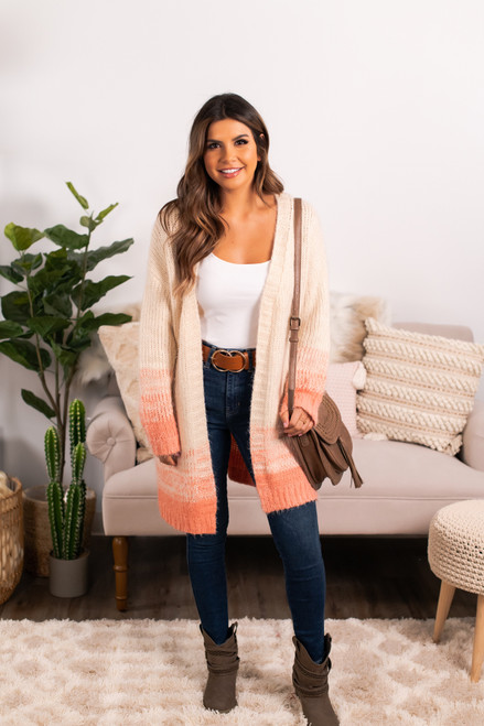 Ombre Pocket Cardigan - Cream/Peach