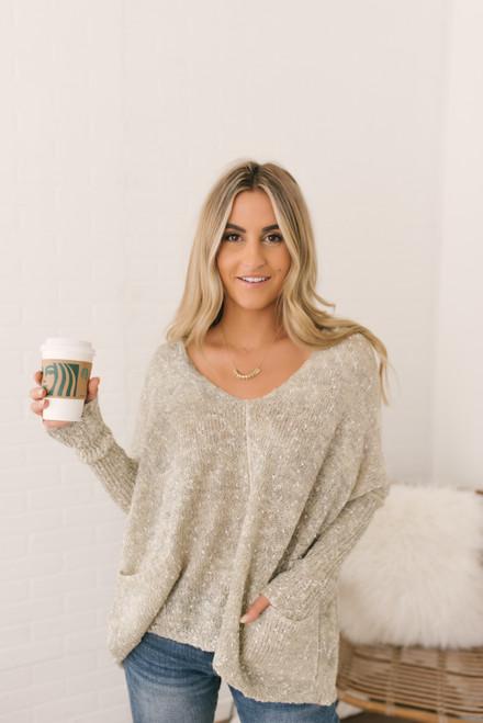 V-Neck Confetti Batwing Pocket Sweater - Vanilla - FINAL SALE